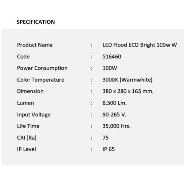 สปอร์ตไลท์ LED ECO Bright 100w (วอร์มไวท์) EVE
