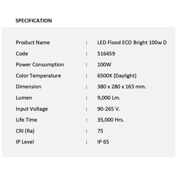 สปอร์ตไลท์ LED ECO Bright 100w (เดย์ไลท์) EVE