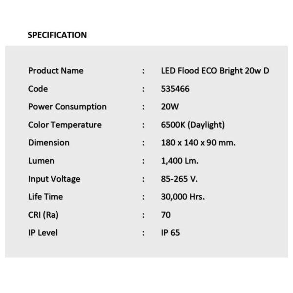 สปอร์ตไลท์ LED ECO Bright 20w (เดย์ไลท์) EVE