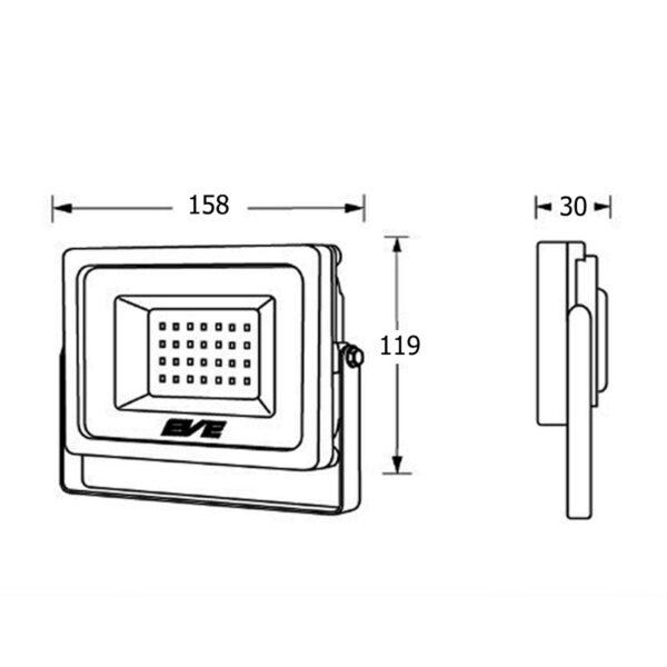 สปอร์ตไลท์ LED Slender 20w (วอร์มไวท์) EVE