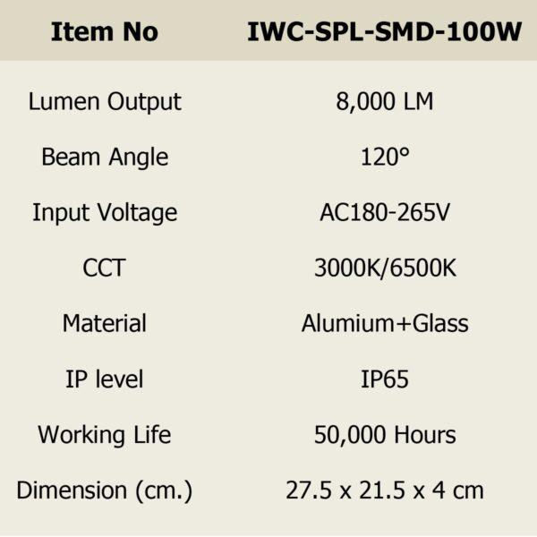 สปอร์ตไลท์ LED 100w SMD รุ่นบาง (วอร์มไวท์) IWACHI