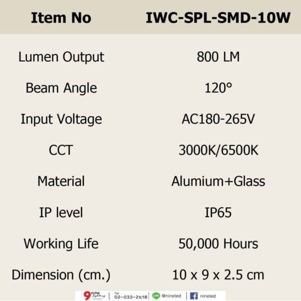สปอร์ตไลท์ LED 10w SMD รุ่นบาง (เดย์ไลท์) IWACHI