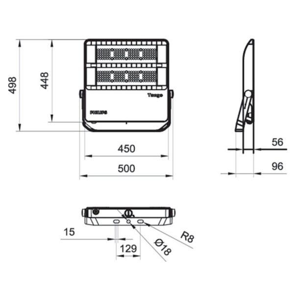 สปอร์ตไลท์ LED Philips BVP382 120w (CW)