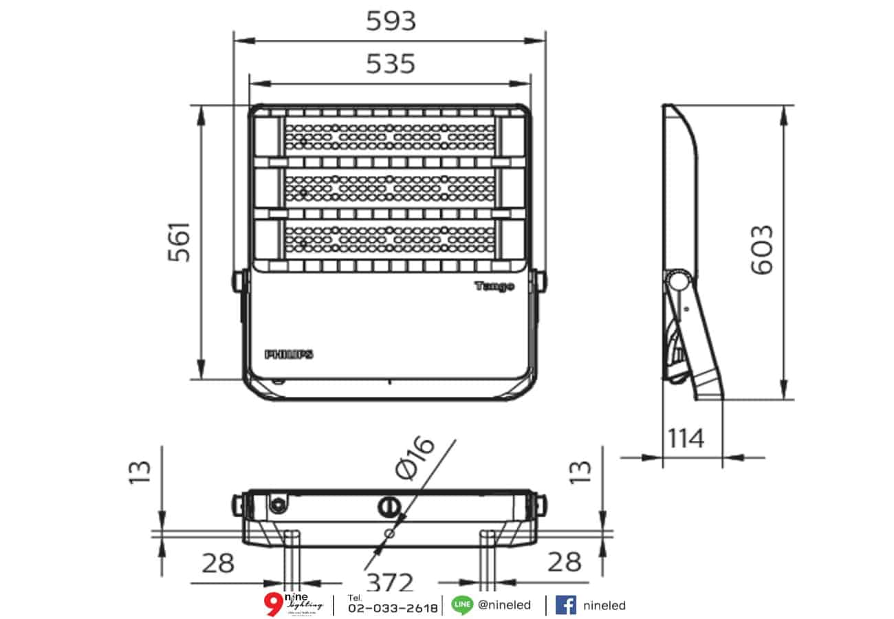 สปอร์ตไลท์ LED Philips BVP383 360w (WW)