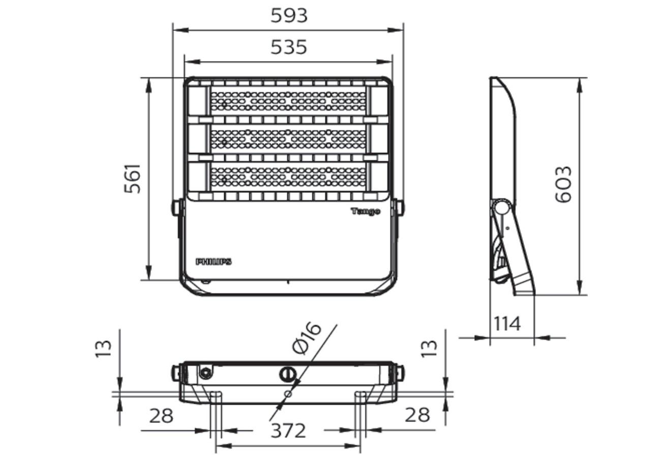 สปอร์ตไลท์ LED Philips BVP383 400w (WW)