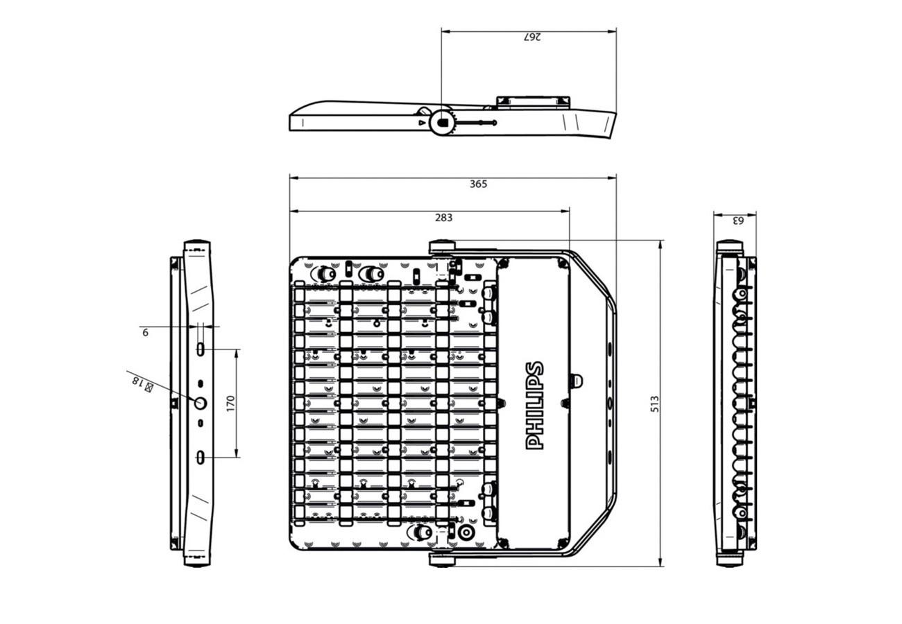 สปอร์ตไลท์ LED PHILIPS BVP162 110w (CW)