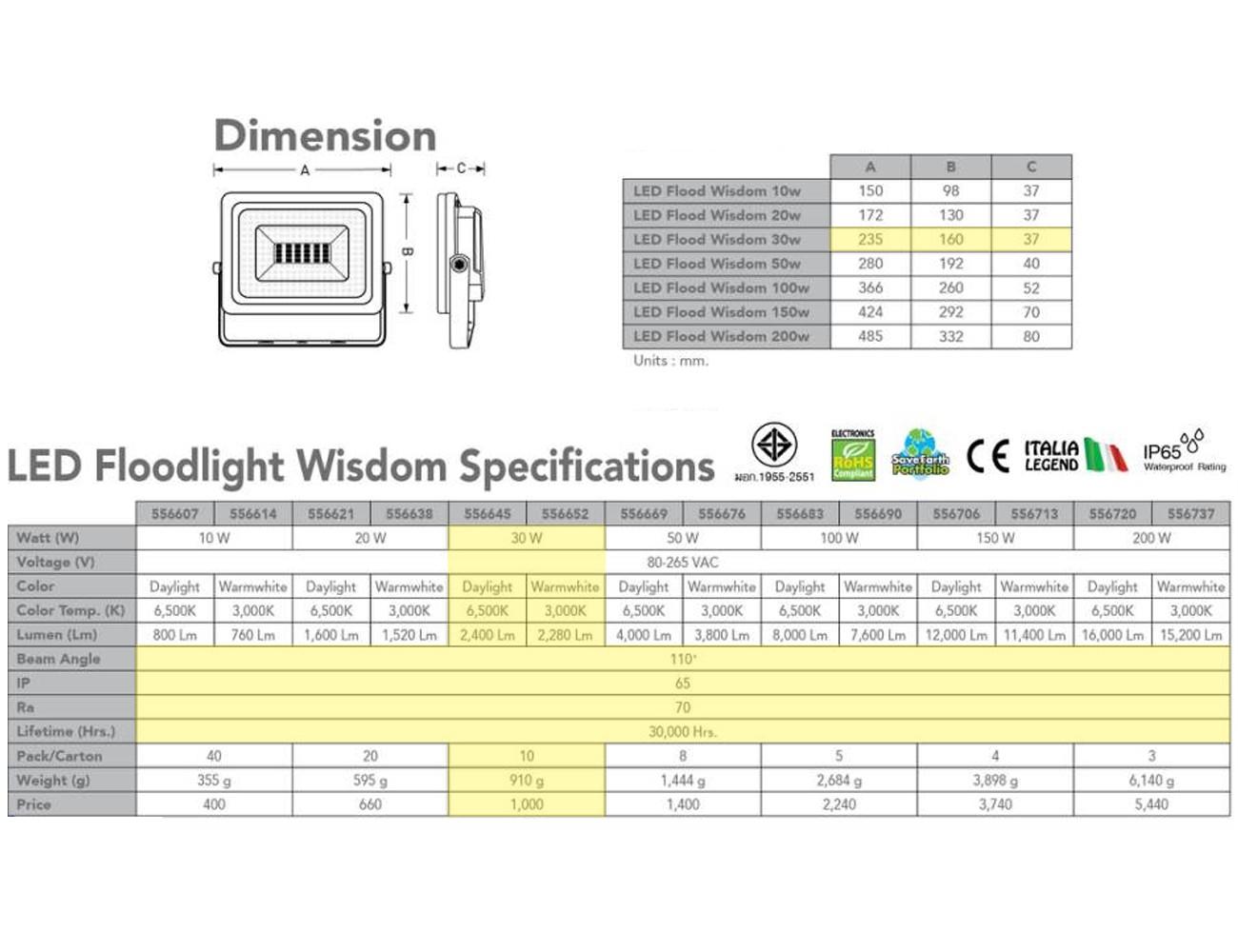 สปอร์ตไลท์ LED Wisdom 30w (เดย์ไลท์) EVE