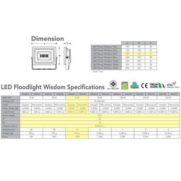 สปอร์ตไลท์ LED Wisdom 30w (วอร์มไวท์) EVE